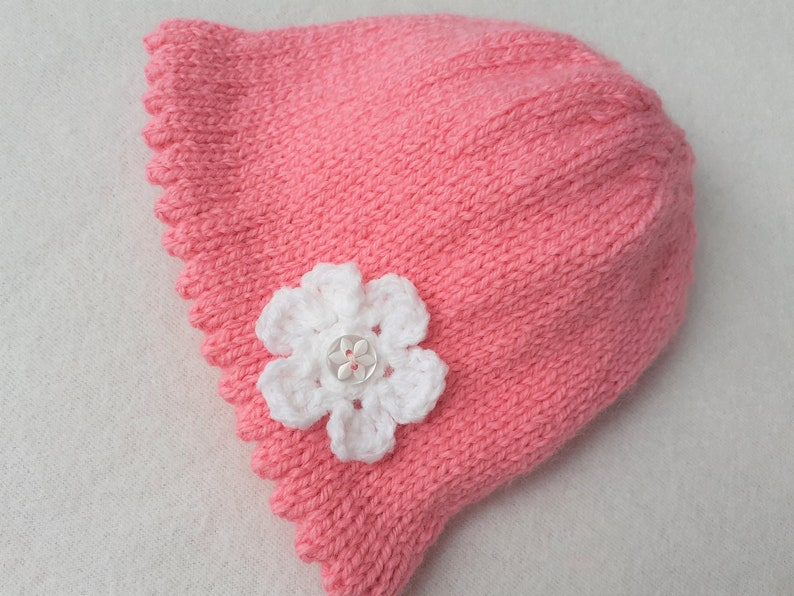 0 to 3 months new baby pink knitted hat Baby girl flower bonnet new baby girl outfit girl baby shower gift baby/'s handmade pink hat