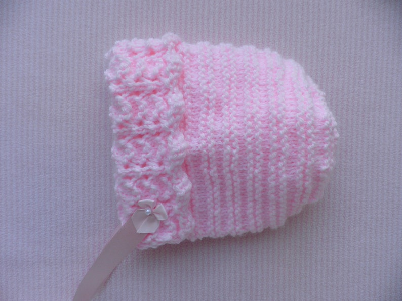 5fb9956dc Baby s pink bonnet baby girl winter hat handknitted pink