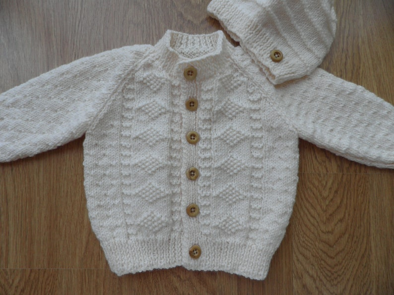20afdbd55 Boy s cream cardigan and hat