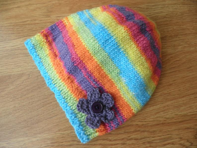 girl/'s boho bonnet handknitted clothes festival hat Girl/'s rainbow hat stripy bonnet multicoloured hat rainbow beanie 5-7 years