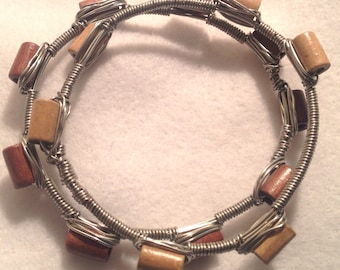 Wood Wire-wrapped Beaded Bangles