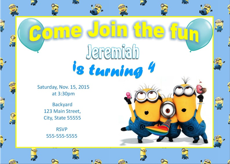 image regarding Minions Printable Invitations called Minions printable invitation, Minions Birthday invite