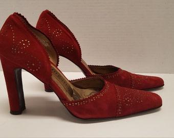Vintage Pedro Garcia Sz 38 Dark Red Suede Party Shoes with Rhinestones