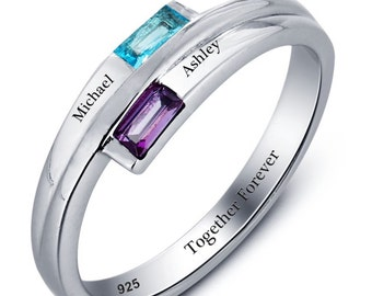 d41513a5a6 Engraved Promise Ring Couples Birthstone Ring Sterling Silver Split Band Personalized  Ring