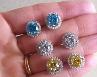 Bridal Earrings, sterling Silver Stud Earrings, crystal Earrings, 1ct stud Earrings, Silver CZ Earrings, Halo Removable Earrings, Solitaire