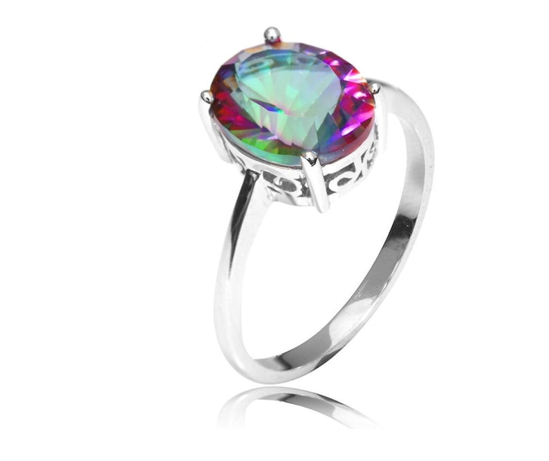0b9124b1b6067 Silver Ring 2.5ct Natural Rainbow Fire Mystic Topaz Ring Oval For Women  Solid 925 Sterling Silver, Promise Ring, Mystic Fire Rainbow Ring