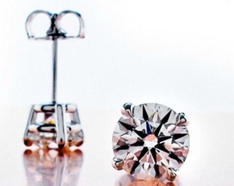 1ct Diamond Stud Earrings simulated, Prong Stud Earrings,Total 1 ct  (0.5 ct each) 4 Claw Prong Round simulated diamond, Round Stud Earrings