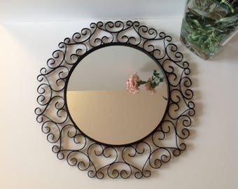 Large mirror Chaty vallauris wrought iron, big Iron mirror, french mid century design