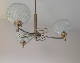 Chandelier 3 branches 50s french light chandelier, french style, art deco design fancy Rough, Golden chandelier glass chandelier