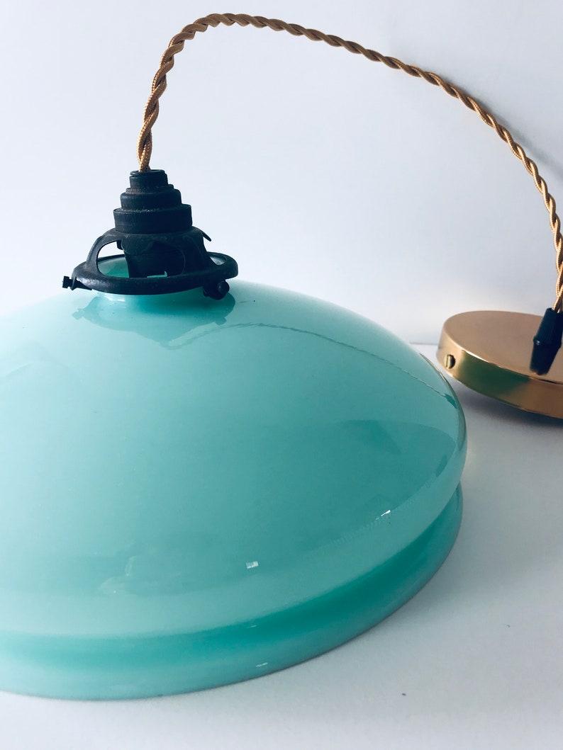 Vintage light mint Blue glass Pendant