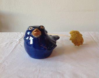 Sparrow ceramic Blue Bird ceramic blue Bird of prey, sculpture, original, unique, vintage, Royal Blue.