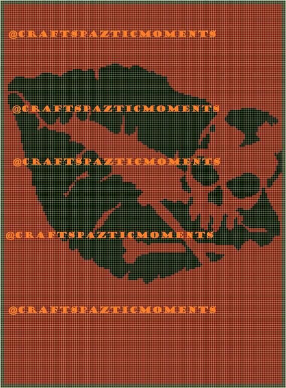 Skull Kisses Graph Graphghan Crochet Throw Blanket Single Etsy