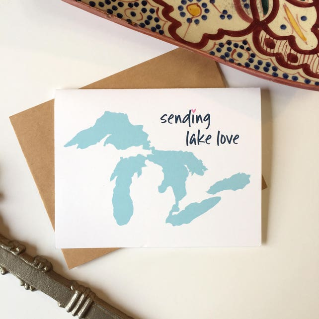 Great lakes state great lakes gift michigan greeting card etsy image 0 m4hsunfo