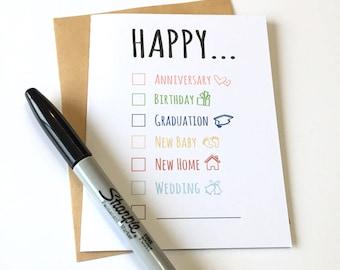 Happy Card - Checklist - Anniversary - Birthday - Happy Graduation - Happy Baby - Happy Home - Wedding - All Occasion - Happy Everything