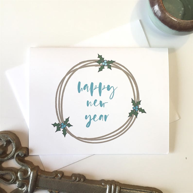 Happy New Year Card New Year Greeting Card Set New Year Etsy
