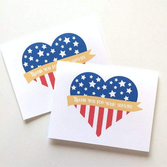 Patriotic Card Thank You For Your Service Veterans Day Etsy