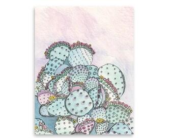 Colorful Cacti Art Print / Cactus Art / Wall Art / Nature Art / Home Decor / Mishka Marie
