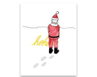 Funny Holiday Card / Funny Christmas Card / Bad Santa / Ho Ho Ho / Christmas Cards / Mishka Marie Art