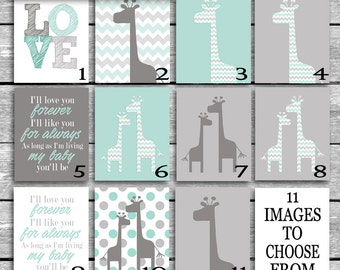Digital Files Only 8x10 JPGs Emailed To You - Choose From 11 Images - Art Coordinates Peanut Shell Uptown Giraffe Crib Bedding - Minty Aqua