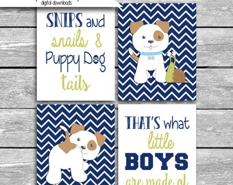Snips And Snails And Puppy Dog Tails That's What Little Boys Are Made Of Printable Nursery Print - Navy- Set of 4 8x10 Inch Digital Download