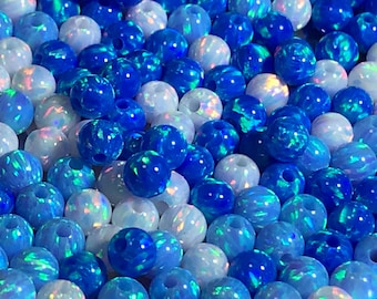 5mm Opal Round Beads - Light Blue, Blue, White or Mix - Fully Drilled Holes-Jewelry Making - Ships out  from USA !