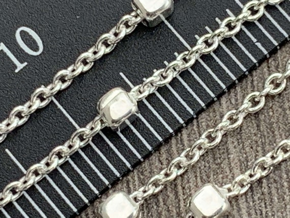 sold by the foot Link Chain Sterling Silver 1mm Links Continuous Unfinished Chain - High Quality Sterling Silver- Made in Italy