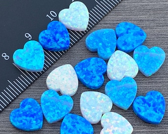 Opal Heart Charm 10mm- Light Blue ,Blue White or Mixed - Pendant Bead with Side Holes - Jewelry Making  -Ships out from USA