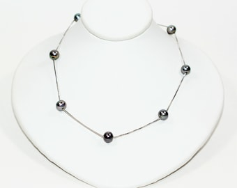 Black Tahitian Pearl 14kt White Gold Strand Women's Necklace