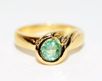 Paraiba Tourmaline 1ct 14kt Yellow Gold Solitaire Gemstone Statement Ring