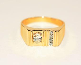 GIA Certified Diamond .51tcw 14kt Yellow Gold Statement Men's Ring