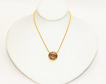 Diamond .48tcw 14kt Yellow Gold Halo Cluster Pendant Women's Necklace