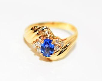 Ceylon Sapphire & Diamond .97tcw 14kt Yellow Gold Gemstone Statement Women's Ring