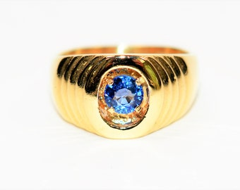 Ceylon Sapphire .71ct 14kt Yellow Gold Solitaire Gemstone Men's Ring