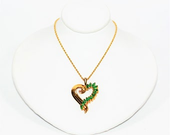 Colombian Emerald 1tcw 14kt Yellow Gold Heart Cluster Pendant Women's Necklace