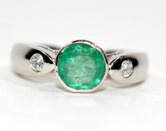Colombian Emerald & Diamond 1.46tcw Platinum Women's Ring