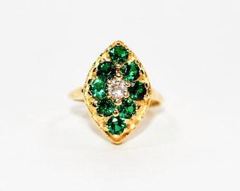 Zambian Emerald & Diamond 1.53tcw 14kt Yellow Gold Cluster Women's Ring