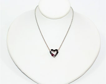 Ruby .15ct 14kt White Gold Solitaire Heart Pendant Women's Necklace