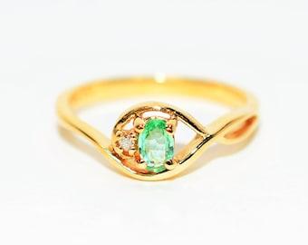 Paraiba Tourmaline & Diamond .27tcw 10kt Yellow Gold Fine Gemstone Women's Ring
