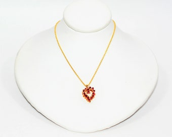 Ruby .23tcw 14kt Yellow Gold Cluster Heart Pendant Women's Necklace