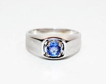 Ceylon Sapphire .94ct 14kt White Gold Solitaire Gemstone Statement Men's Ring