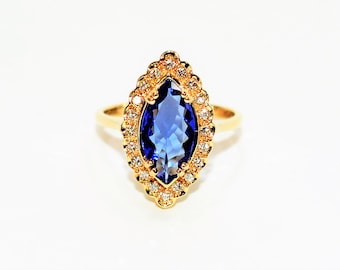 D'Block Tanzanite & Diamond 2.03tcw 14kt Yellow Gold Halo Marquise Women's Ring
