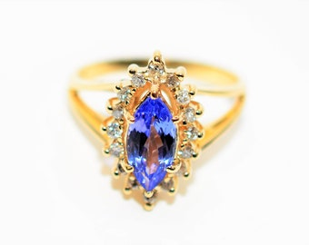 Certified D'Block Tanzanite & Diamond 1.40tcw 14kt Yellow Gold Halo Women's Ring