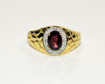 Red Spinel & Diamond 1.55tcw 10kt Yellow Gold Gemstone Statement Men's Ring