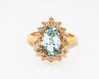 Aquamarine & Diamond 3.22tcw 14kt Yellow Gold Pear Halo Women's Ring