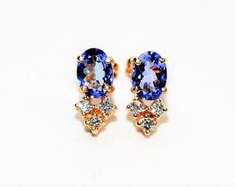 D'Block Tanzanite & Diamond 1.68tcw 14kt Yellow Gold Stud Women's Earrings
