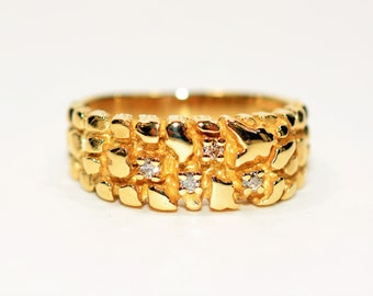Diamond .12tcw 10kt Yellow Gold Nugget Cluster Statement Men's Ring