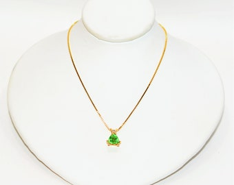 Tsavorite Garnet & Diamond 1.27tcw 14kt Yellow Gold Trillion Pendant Necklace