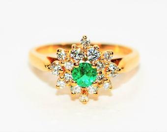Colombian Emerald & Diamond .53tcw 14kt Yellow Gold Statement Women's Ring