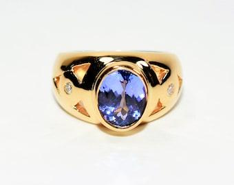 LeVian Blueberry Tanzanite & Diamond 2.56tcw Yellow Gold Cigar Band Statement Women's Ring