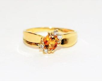 Orange Sapphire & Diamond 1.06tcw 10kt Yellow Gold Fine Gemstone Women's Ring